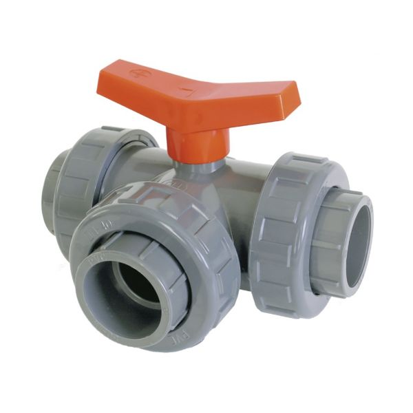 "3 WAY BALL VALVE ""T"" SOLVENT FPM"