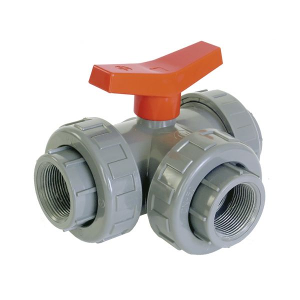 "3 WAY BALL VALVE ""L"" SOLVENT FPM"